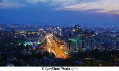 General view of the Avenue Al-Farabi. Night. Almaty,...