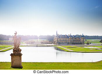 General view of the Chateau de Chantilly, France