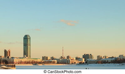 General view of the waterfront. Russia, Yekaterinburg