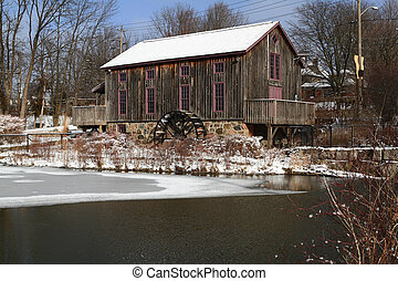General view Old water mill in winter. - Picture, general...