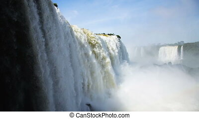 grand Iguazu Waterfalls system in Brazil - General view on ...