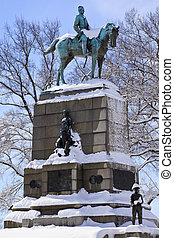 General William Tecumseh Sherman, famous civil war hero, Statue Pennsylvania Avenue After the Snowstorm With Snowy Trees Washington DC