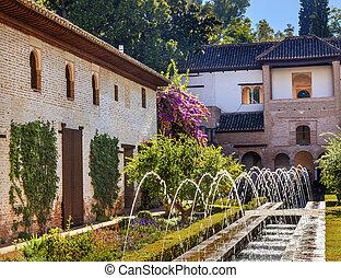 Generallife Alhambra White Palace Orange Tree Garden Granada And