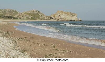 Generals beach at dawn. Karalar regional landscape park in Crimea.