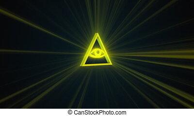 generated., maçon, sombre, voir, symbolisme, tout, oeil, delta, informatique, fond, rendre, 3d, radiant
