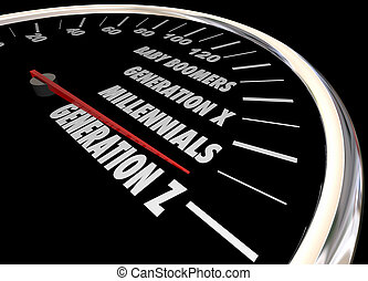 generatie, illustratie, millennials, woorden, y, x, z,...