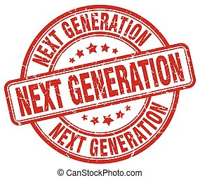 generatie, postzegel, grunge, rood, volgende