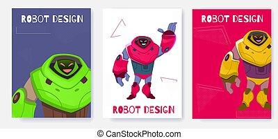 generatie, robot, volgende, ontwerp, vector., spotprent, kaart