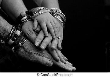 generaties, van, handen