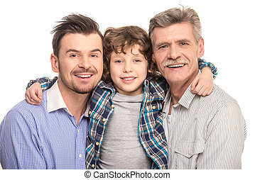 Generation - Close-up. Grandfather, father and son smiling...