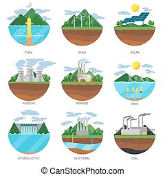 Generation energy types. Power plant icons vector set....