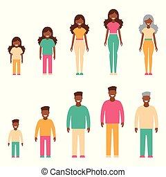 generation., estilo, conjunto, gente, de piel oscura, aislado, ilustración, simple, vector, plano de fondo, blanco