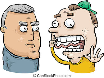 Generation Gap - A serious, middle aged cartoon man does not...