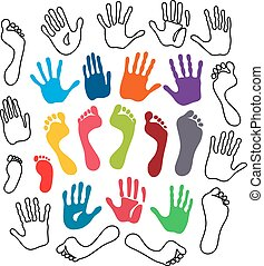 Generation hand and foot prints - Vector illustration...