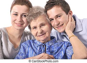 happy grandmother with her grandchildren