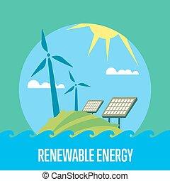 generation magt, sol, energy., udskiftelig, vind