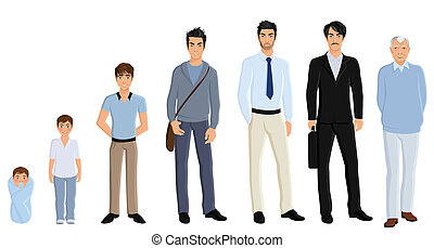 Generation man set - Different generation aging men set...