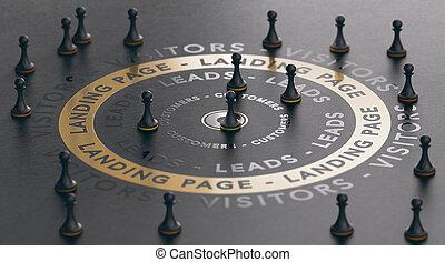 generation., riuscito, marketing, concept., atterraggio, piombi, inbound, internet, pagina
