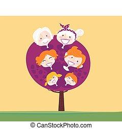 generation, stort träd, familj