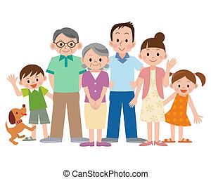 generation, tre, familj