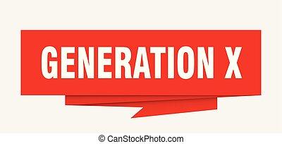 generation x sign. generation x paper origami speech bubble....