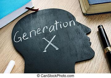 Generation x written on the silhouette of head.