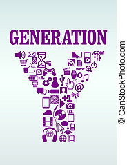 Generation Y - Differents items from the generation Y (gen...