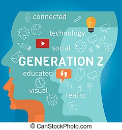 generation z connected concept vector illustration marketing