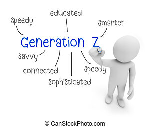 generation z text ,business man writing generation z concept...