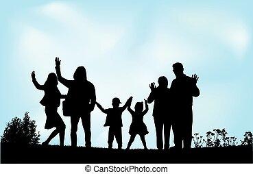 generational rodinný, dále, ta, skoro., čerň, silhouettes.
