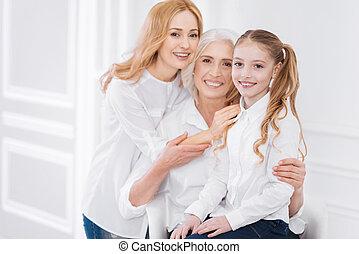 generationen, basierend, drei, familie, zusammen
