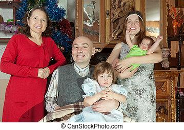 generationen, porträt, drei, familie, glücklich
