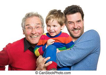 generations:, großvater, drei, vater, sohn