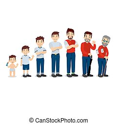 Generations man. People generations at different ages. All age categories - infancy, childhood, adolescence, youth, maturity, old age. Stages of development. Vector