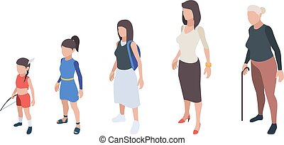 Generations people. Kids girls daughter woman mother grandmother vector isometric characters
