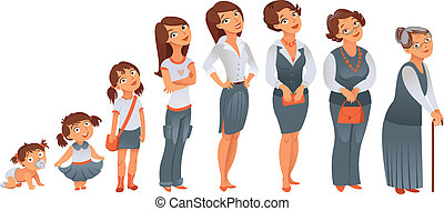 Generations woman. All age categories - infancy, childhood,...