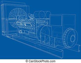 generator., ディーゼル, 目に見える, 見えない, 産業, separated., ライン, 電気である, ...