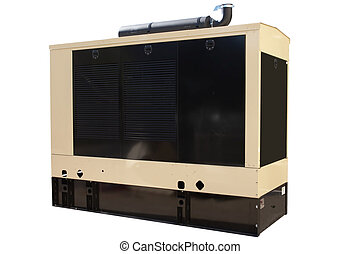 Generator - Industrial-sized backup power generator that has...
