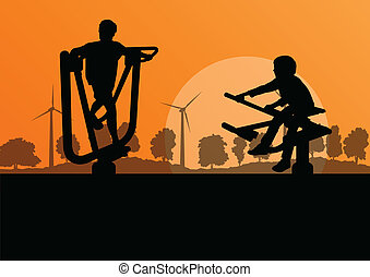 generator, platteland, jonge, illustratie, boerderij, vector...