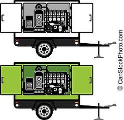 generator, släpvagn