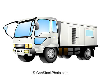 Generator Truck Illustration with Clipping Path