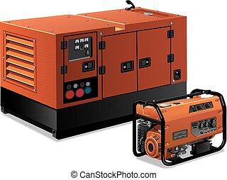 generatorer, illustration, magt