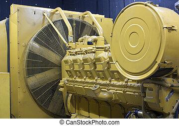 Generators. - Yellow emergency generators. Diesel engine....