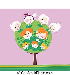 generazione, albero, triplo, famiglia