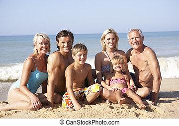 generazione, atteggiarsi, spiaggia, tre, famiglia
