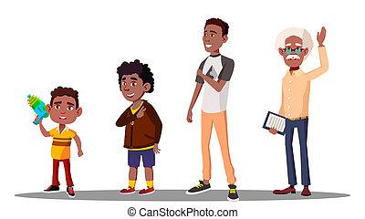 generazione, figlio, nonno, isolato, illustrazione, nipote, americano, padre, africano, bambino, maschio