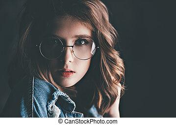 generazione, giovane, occhiali