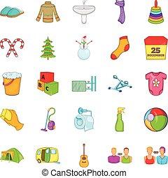 generazione, set, stile, cartone animato, icone