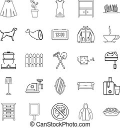 generazione, set, stile, contorno, icone