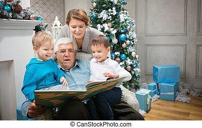 generazione, tre, famiglia